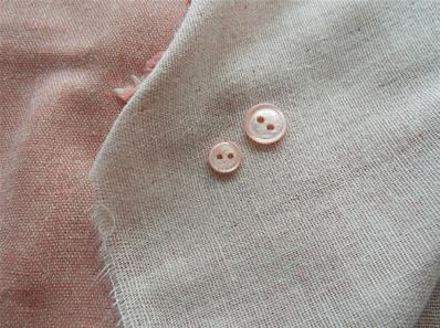 Double gaze chambray rose poudré réversible