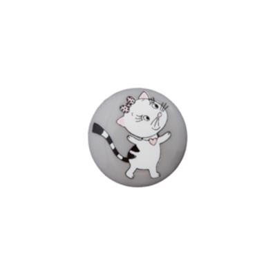 Bouton chat - gris