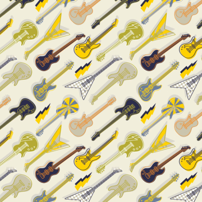 Tissu collection rock on - 3 Guitares - jaune