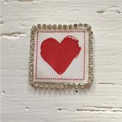 Motif thermocollant coeur rouge / Strass